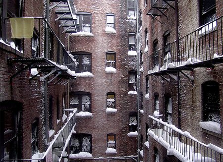 Snow falls in the city; Christmas in the ghetto