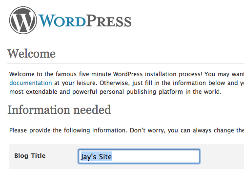 The famous five minute WordPress installation process begins