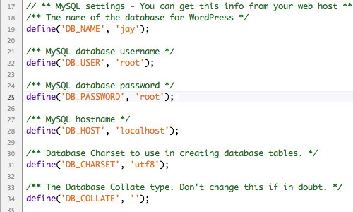Remember to change the name of this file from wp-config-sample.php to wp-config.php