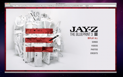 iTunes LP Jay-Z The Blueprint 3 when viewed in Safari 4.0.3