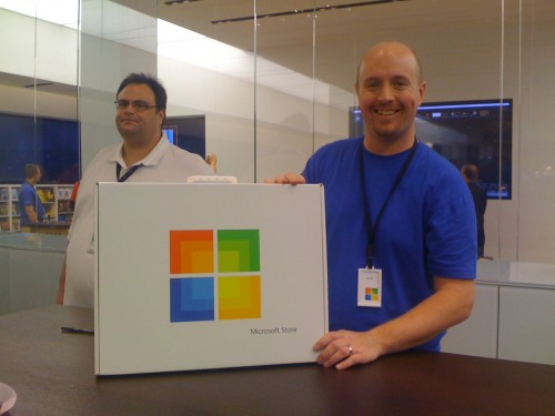 Kyle, a very friendly Microsoft employee, shows me the Signature Service box.