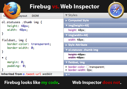 Firefox's third-party plugin Firebug vs WebKit's built-in Web Inspector