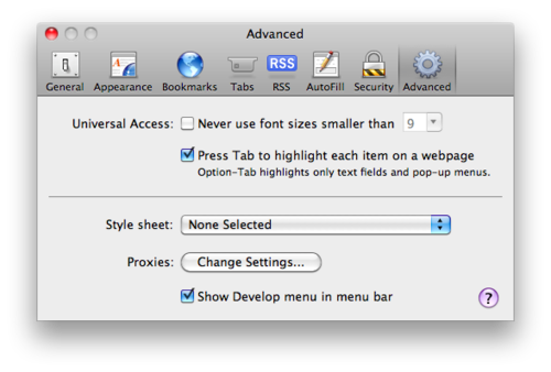 Safari Preferences Advanced